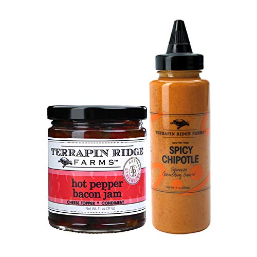 Terrapin Ridge Farms Hot Pepper Bacon Jam 11oz (311g) and All Natural Spicy Chipotle Squeeze Garnishing Sauce 9oz (255g) — Gluten-Free and Dairy-Free Cheese Topper, Condiment and Gourmet Sauce Bundle