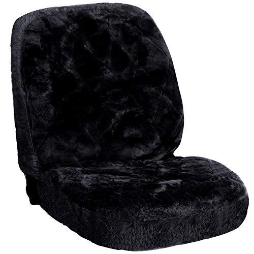 eSituro SCSC0140 universal ökologisch Lammfellbezug Sitzbezug Sitzbezüge für Auto aus echtem Lammfell schwarz