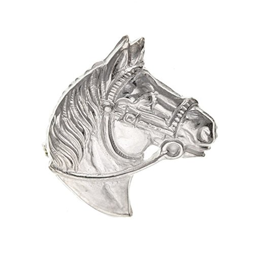 Horse Head Equestrian Equine Silver Brooch Pin/Clip for Women/Teenage/Girls - 925 Sterling Silver - Vintage Style Brooch/Pin - Size: 26mm W X 33mm H