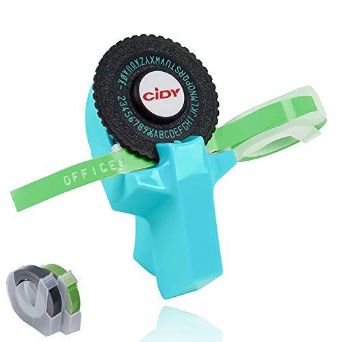 Mini Stampante per Etichette 3D Fai Clic su Piccola Macchina da Scrivere per Goffratura Fai-Da-Te con Piastra per Lettere e Nastro da Taglio (Blu)