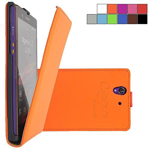 COOVY® Funda para Sony Xperia Z L36h L36i C6603 C6602 Cubierta Delgado, con Tapa, lámina Protectora de Pantalla   Color Naranja