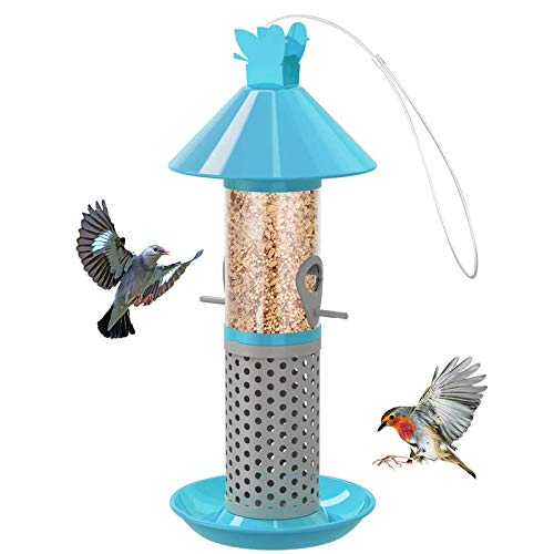 Aumuca Wild Bird Feeder Hanging, Heavy Duty All Metal Finishing Bird Feeders for Mix Seed Blends Nyjer Seed Feeder for Outside Feeders for Garden Yard Outside Decoration-Blue