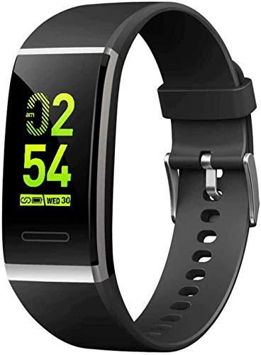 Pantalla a color de moda banda inteligente ritmo cardíaco y presión arterial Monitoreo Bluetooth Actividad pulsera reloj inteligente una variedad de diales moda pantalla grande Fitness & Amp Act-Negro