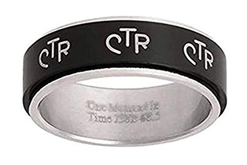 One Moment In Time J38B Size 6 Wide Antique Black Stainless Steel Spinner CTR Ring Mormon LDS Unisex