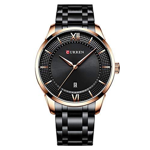 Curren Reloj de pulsera para hombre con fecha, acero casual, cuarzo negro, 8356