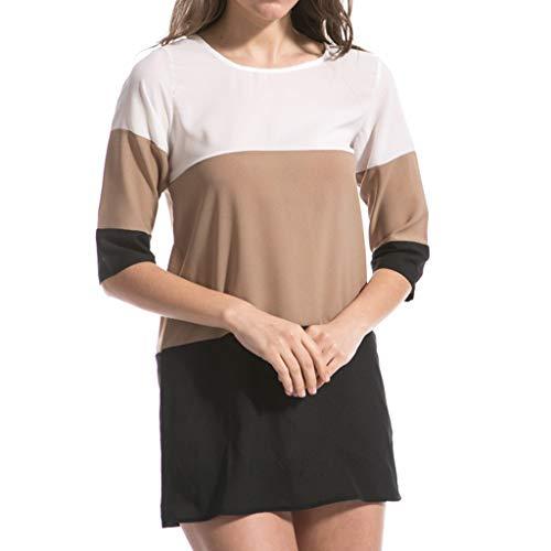 Xmiral Tops Frauen Halbe Hülse Farben-Block-Patchwork-langes T-Shirt Beiläufiges Oansatz Minikleid Plus Größen-Wilde Elegante Bluse(Schwarz,6XL)