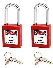 QWORK Red Lockout Tagout veiligheidshangslot, 2 hangsloten met 4 sleutels