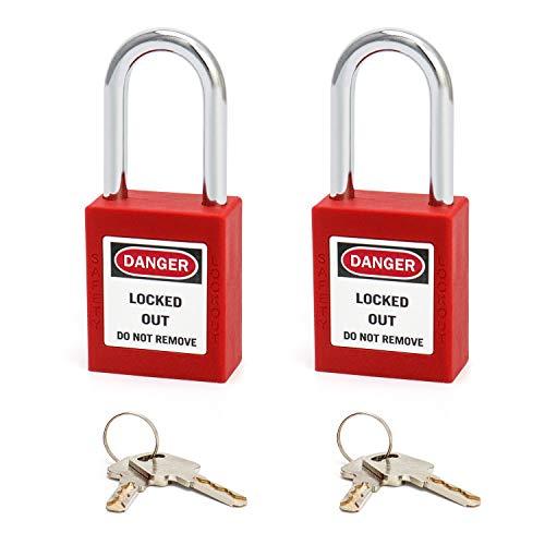 QWORK Candado de seguridad rojo para bloqueo y etiquetado, 2 paquetes candados con 4 Clave, 1-1 2    38mm Steel Shackle