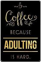 男性女性のためのコーヒーヴィンテージメタルティンサインマン洞窟、バー、トイレ、レストラン、カフェパブ、12x8インチの壁の装飾