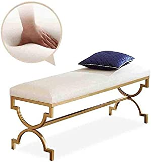 CHU N1 Sofa Stool, Upholstered Seat Wrought Iron Change Shoe Bench Bedroom Bed-end Stool 120cm×35cm×45cm 114 (Size : 40cm)