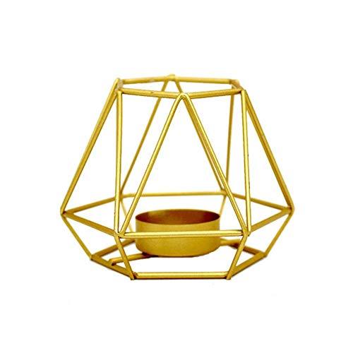Bledyi Kerzenständer aus Eisen, nordischer Stil, geschmiedet, geometrische Kerzenhalter, Heimdekoration, Metall, 10,5 x 8 cm, goldfarben, Gold 1, 10.5×8cm