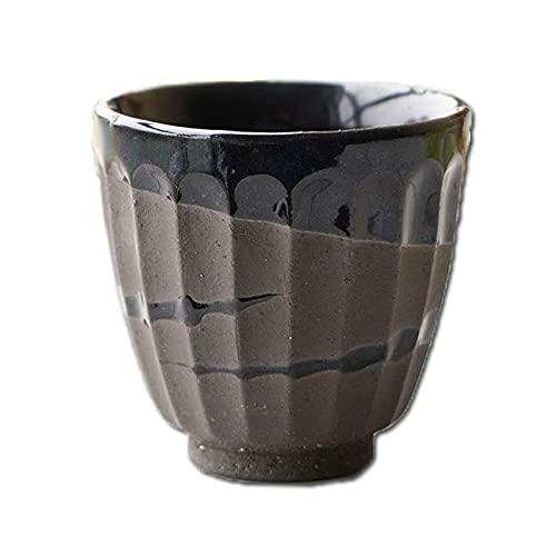 和食器 松助窯 しのぎ 湯のみ 黒ミカゲ なまこ釉ウェーブ 湯飲み コップ 父の日 お茶 緑茶 フリーカップ カフェ 器 美濃焼 陶器 食器 手づくり