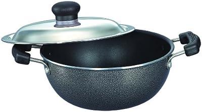 Prestige Omega Select Plus Non-Stick Flat Base Kadai with Lid, 20cm, 2.2 Litters, Black