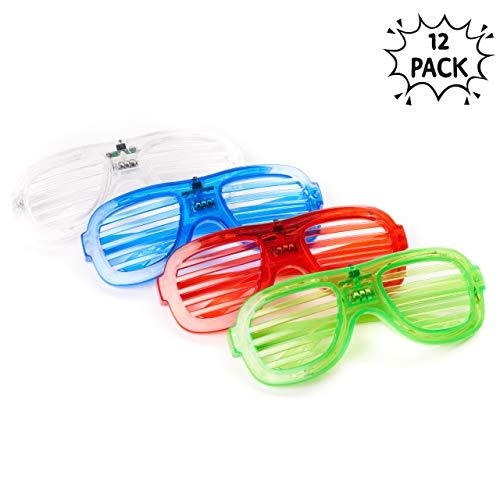 12 LED Partybrillen, Jalousiebrillen, Atzenbrille - Verschiedene wechselnde Farben 3 verschiedene Modi fuer die Farben - Ideal für Party Mitgebsel - Weihnachten, Haloween Dekoration & Geschenke