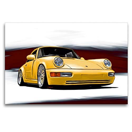 Premium Textil-Leinwand 120 x 80 cm Quer-Format Porsche 911/964   Wandbild, HD-Bild auf Keilrahmen, Fertigbild auf hochwertigem Vlies, Leinwanddruck von Reinhold Autodisegno
