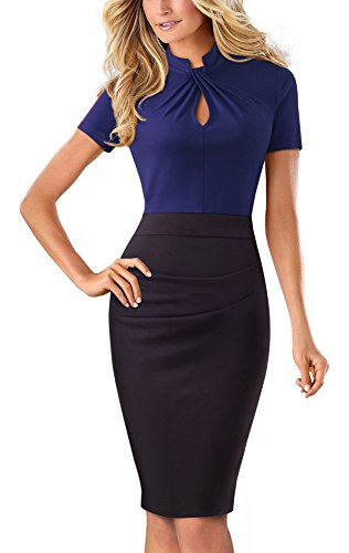 HOMEYEE Damen Vintage Stehkragen Kurzarm Bodycon Business Bleistift Kleid B430 (EU 40 = Size L, Dunkelblau)