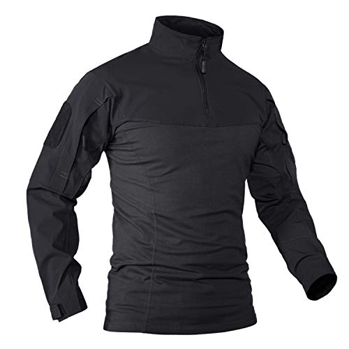 KEFITEVD Camiseta táctica militar para hombre con cremallera de 1/4, para exterior, de manga larga, con bolsillos, de caza, primavera, verano, negro, M