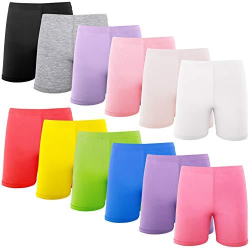 Hollhoff 12 pantalones cortos de danza para niñas de 8 a 10 años de colores mezclados, transpirables y multicolores seguros para vestir patios de juegos y gimnasia