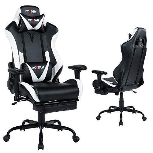 KCREAM Gaming Chair with Adjustable Lumbar Pillow Retractable Footrest and Headrest Racing Ergonomic High Back PVC Leather Office Computer Executive...