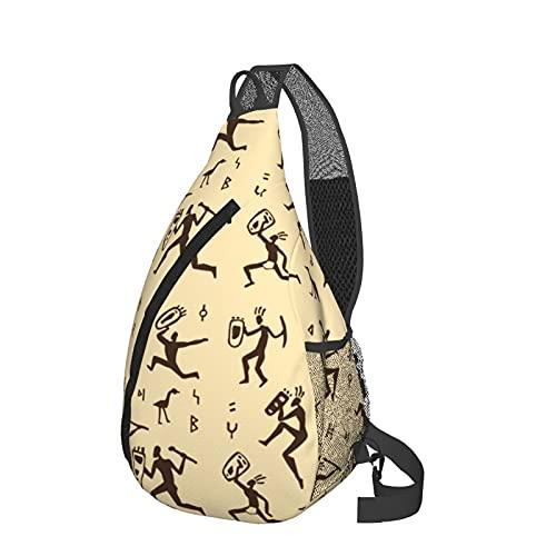 Primitive Rock Painting Chest Bag Daypack Crossbody Sling Backpack For Travel Hiking