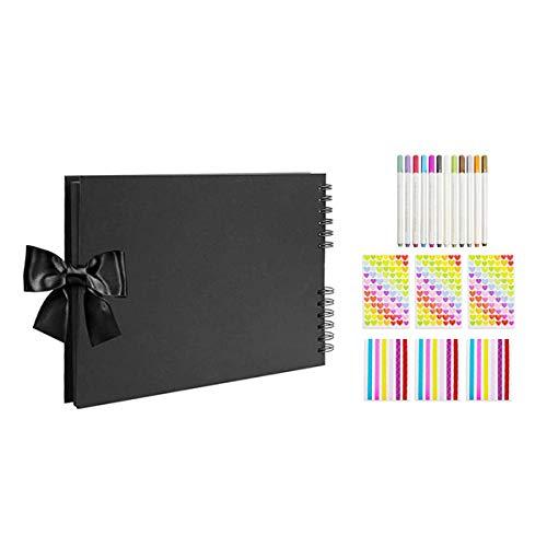 OVBBESS Álbum de fotos con 80 páginas/40 hojas de tapa dura, libros de memoria con rotuladores metálicos