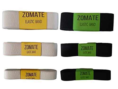 6 Yards Bulk Mix Size 1' 3/4' 1/2' Inch Flat Elastic Bands Black & White Ribbon Sewing Fabric for Cloth Costumes Craft Garment Trousers Accessory Waistband Pants Bra Bags Headband