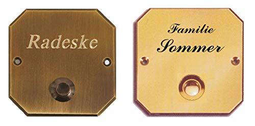 Messing Türklingel-Klingel-Klingelplatte- 80 x 80 mm Ø-Verschraubung von vorne-Ohne oder mit Gravur (331 KU Mess. brüniert mit 1 Zeile Gravur)