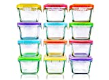 Glass Baby Food Storage Containers with Lids | Set of 12 | 5 oz Glass Food Containers | Freezer Storage | Reusable Small Glass Baby Food Containers | Microwave & Dishwasher Safe | for Infant & Babies