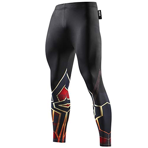 NESSFIT Superhero Herren Kompressions-Leggings Workout Base Layer Fitness Thermo Hose Laufen Lange Tights Gr. L, Spiderman Burgundy - Hose