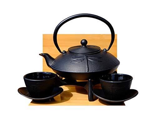 Juego de té de libélula negra de hierro fundido D2 – Tetsubin tetera, salvamanteles y tazas X2