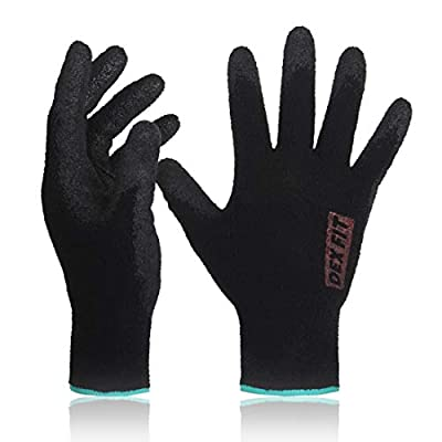 DEX FIT Black Warm Fleece Work Gloves NR450, Comfort Spandex Stretch Fit, Power Grip, Thin & Lightweight, Durable Nitrile Coated, Machine Washable, Medium 3 Pairs Pack