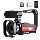 OIEXI Video Camera 4K Camcorder Vlog Camera for YouTube, HD Digital Camera with 16X Digital Zoom and Night Vision, Video Recorder with Microphone (32GB SD Card, 2 Batteries Included)