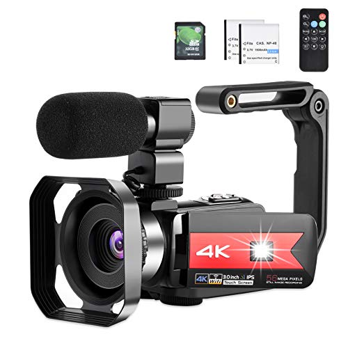 OIEXI Video Camera 4K Camcorder Vlog Camera for YouTube, HD Digital Camera with 16X Digital Zoom and Night Vision, Video Recorder with Microphone (32GB SD Card, 2 Batteries Included