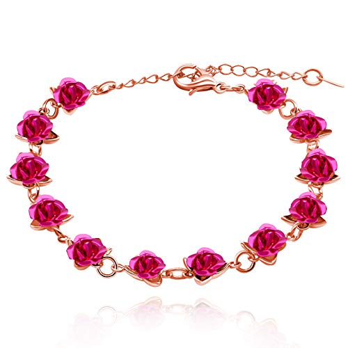 Uloveido Dainty Fuchsia Rose Flower Bracelet in Rose Gold Plated Summer Nature Jewelry Ornaments for Girls Y452 (Rose gold, Fuchsia)
