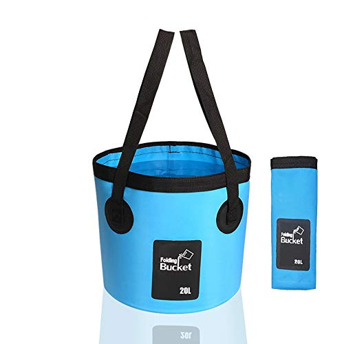 INHEMI Cubo Plegable 20L -Cubo de Camping Portátil Portador de Agua Contenedor de Lavado para Acampar Senderismo Pesca Viajes