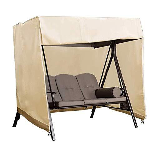 Patio Swing Chair Cover, Schutzhülle Hollywoodschaukel 3 Sitzer Wasserdicht Abdeckung Für Gartenschaukel Aus 190T Oxford Winddicht, UV-Beständiges,Beige,220x125x170CM