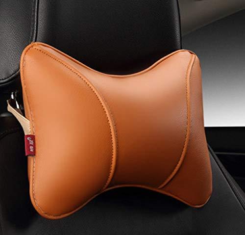 TZYKCN Pu lederen auto hoofdsteun kussen universele comfortabele nek kussen geschikt voor de meeste auto kwaliteit garantie ORANJE