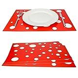 MamboCat 4er Set Tischset rot mit weißen Punkten I farbige Tischsets Kunststoff I Essunterlage Platzdeckchen abwaschbar I Tischmatten Teller Platzset Polypropylen I Retro Tisch Untersetzer 45x32cm