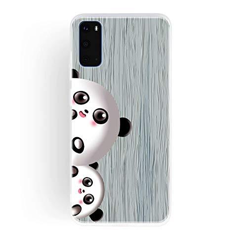 Miagon Holz Korn Hülle für Samsung Galaxy S20 Plus,Ultra Dünn Weiche Silikon Handyhülle Cover Stoßfest Schutzhülle mit Schöne Süß Panda Muster,Grau