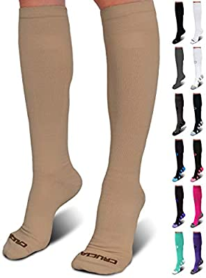 Pro Compression Socks for Men & Women (20-30mmHg) - Best Graduated Stockings for Running, Athletic, Stamina, Travel, Flight, Pregnancy, Maternity, Nursing, Medical, Shin Splints, Varicose Veins