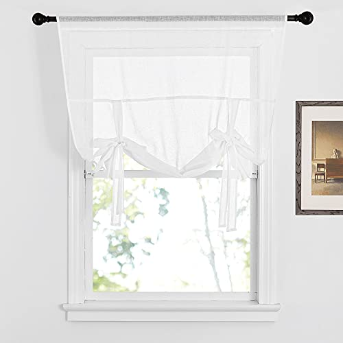 """NICETOWN Tie Up Curtain for Small Windows - Pure White Bathroom Linen Curtain Textured Adjustable Roman Shade for Kitchen/Camper RV/Living Room, 42"""" Wide x 63"""" Long, 1 Panel"""