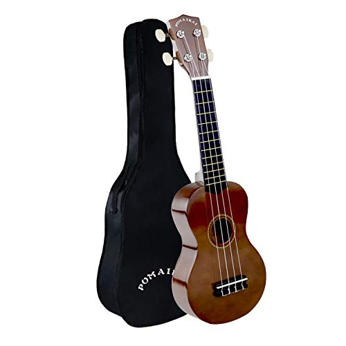 POMAIKAI Soprano Wood Ukulele Rainbow Starter Uke Hawaii kids Guitar 21 Inch with Gig Bag for kids Students and Beginners (Bright Brown)