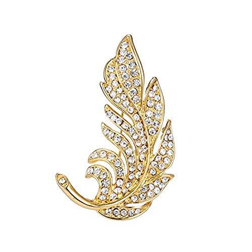 Kpcxdp Broche de Las Mujeres, niña de Plumas de Cristal de Temperamento Elegante, Pecho de Traje de Alto Grado, Ropa Sencilla, Pin (Color: Oro)