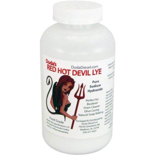 Duda Diesel 2drhdl 2 lb. Red Hot Devil Lye 99+% Pure Sodium Hydroxide FCC Food Chemical Codex High Grade Caustic Soda Beads, Naoh, 25 Storage, FCC Grade, 33 fl. oz.