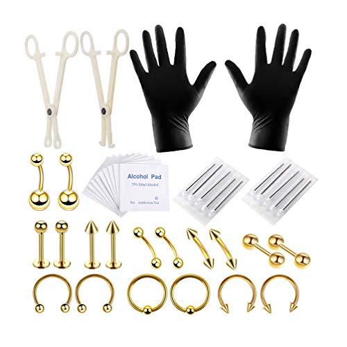 SUPVOX Kit di Piercing per Il Corpo Professionale Anello per la Pancia Lingua Trago capezzolo Naso Labbro Strumenti Gioielli Set 42 Pezzi (Dorato)