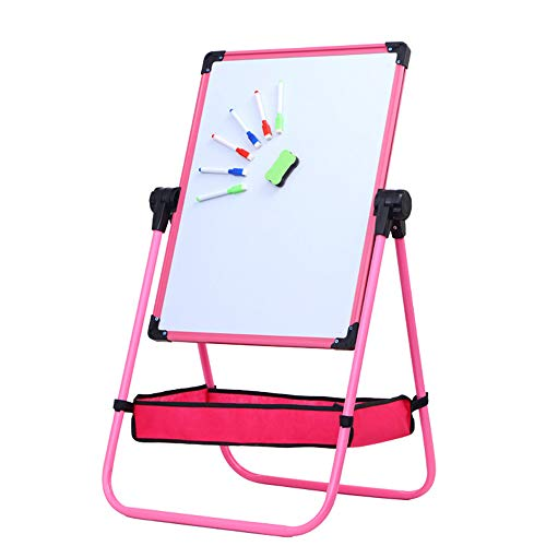 360 ° draaiende magnetische U-standaard whiteboard hoogte verstelbare 26inch-44inch whiteboard/Chalkboard dubbelzijdig staande kinderen Flip Chart Easel Blauw