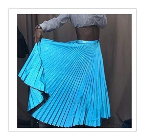 Falda larga plisada de cintura alta para mujer y mujer, elegante, para fiestas de noche, club, OL, para mujer, ropa de calle para mujer (color azul cielo, tamaño: talla única)