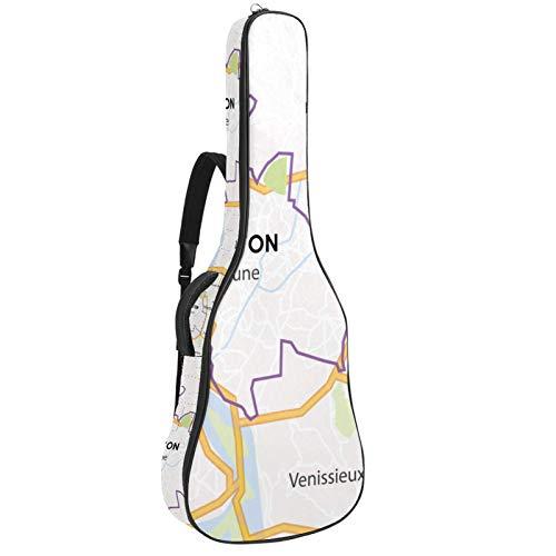Bolsa para guitarra impermeable con cremallera, suave para guitarra, bajo, acústico y clásica, bolsa para guitarra eléctrica, diseño de mapa de Lyon City
