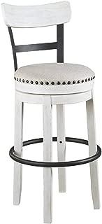Ashley Furniture Signature Design - Valebeck Tall Upholstered Swivel Barstool - Casual Style - White
