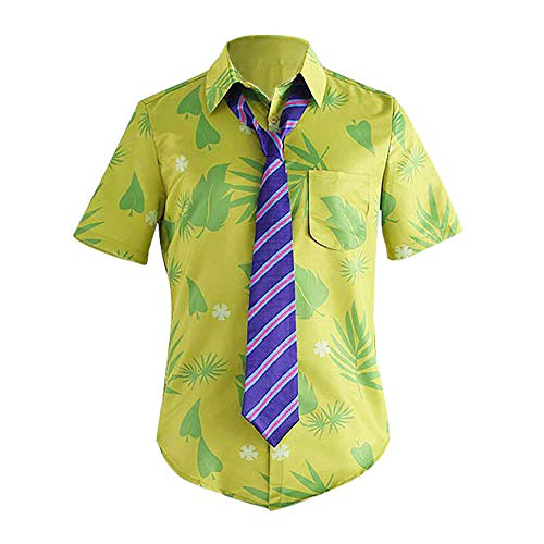Men's Shirt Short Sleeve Hawaiian Beach Green Leaves Printed Slim Fit Button Casual Aloha Summer Holiday Tops with Tie Set (Green, XL)
